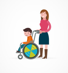 disabled child in a wheelchair with parent