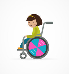 disabled child, girl in a wheelchair