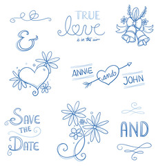 Set of romantic love ornaments for valentine, engagement, wedding invitation, save the date card. Hand drawn vector illustration