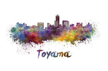 Toyama skyline in watercolor