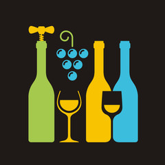 Row of wine bottles with corkscrew, wineglass and bunch of grape