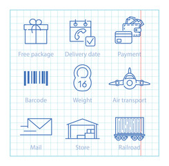 Vector thin line icons set for logistics, shipping and delivery