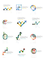 Linear graph and chart abstract logo set, connected multicolored line segments