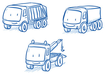 Cute set of vehicles, trucks, tow truck. Hand drawn vector cartoon doodle illustration