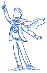 Business man smiling happy in super hero outfit. Hand drawn vector cartoon doodle illustration