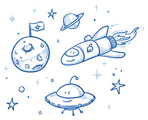 Cute space ship and alien set, with moon, planet and stars. Hand drawn vector cartoon doodle illustration