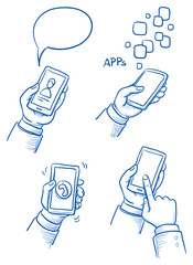 Set of hands with mobile phone. Hand drawn vector cartoon doodle illustration
