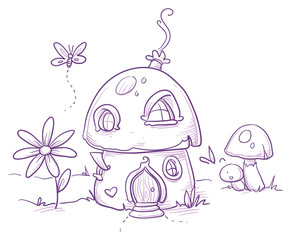 Cute romantic mushroom house for magic fairy or gnome. Hand drawn vector cartoon doodle illustration