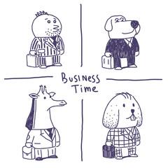 Animal businessmen vector illustrations set