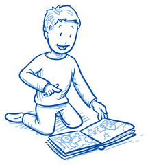 Cute little boy looking at a picture book. Hand drawn cartoon doodle vector illustration.