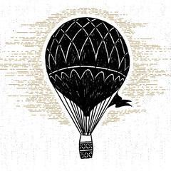 Hand drawn textured vintage icon with hot air balloon vector illustration.