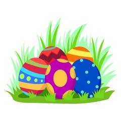 Illustration of Easter Egg on Grass