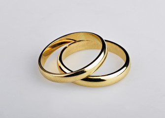 Two well used Golden Wedding Rings