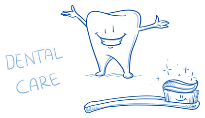Cute happy cartoon tooth shiny white with toothbrush. Hand drawn line art cartoon vector illustration.