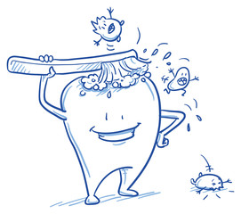 DruckCute cartoon tooth cleaning himself with a brush, scaring off the bacteria. Hand drawn line art cartoon vector illustration.