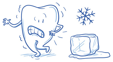 Cute cartoon tooth being afraid of cold ice, sensitive teeth. Hand drawn line art cartoon vector illustration.