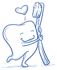Cute cartoon tooth in love hugging his toothbrush. Hand drawn line art cartoon vector illustration.