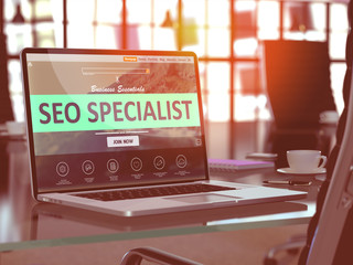 SEO Specialist Concept on Laptop Screen.