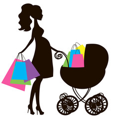 vector illustration of modern pregnant mommy with  vintage  baby carriage, the woman does the shopping online store, logo,silhouette, stylized symbol of mother's, sale icon black on white background