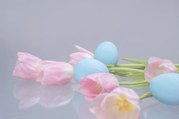 Pastel eggs and tulips for Easter