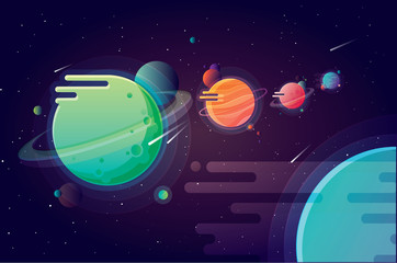 Colorful vibrant fantastic solar system planets isolated on universe background in modern trendy cartoon design style