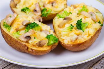 Broccoli, Cheese and Mushroom Potato Boats