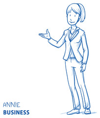 Happy young woman in business clothes holding hand as if explaining or presenting something (e.g product). Hand drawn line art cartoon vector illustration.