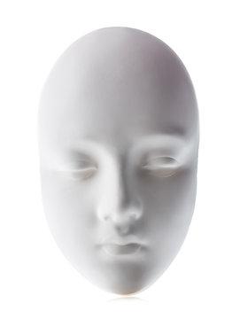 White mask close-up isolated on white background.