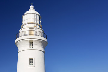 White lighthouse on a clear blue day