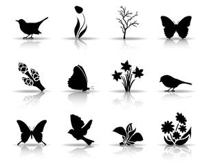 Symbole Frühling - Schwarz (Schatten)