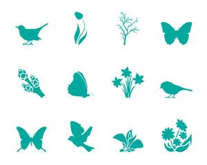 Symbole Frühling - Türkis