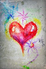 Graffiti red heart