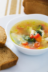 Vegetable soup with chicken breast