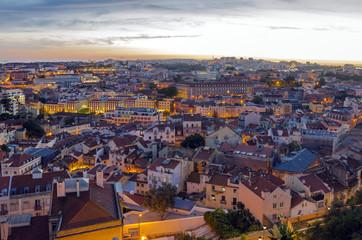 Lisbon skyline at dusk, Portugal