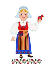 Swedish girl holding souvenir