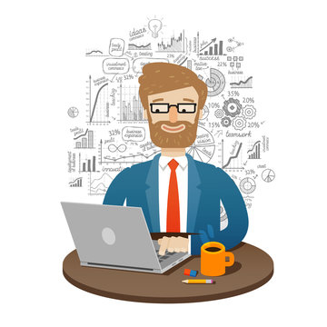 business. businessman working on laptop. vector illustration