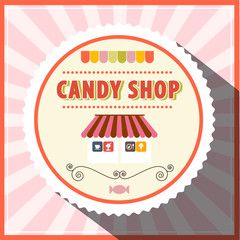 Candy Shop Retro Vector Pink Label