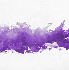 Purple watercolor paint banner with brushstrokes
