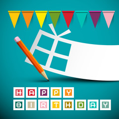 Happy Birthday Retro Blue Card with Colorful Flags - Paper Gift Box and Pencil