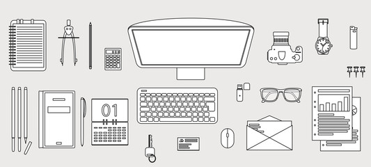 Office desk objects illustration
