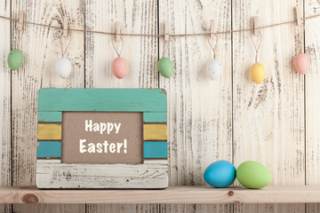 Easter eggs with holiday greeting