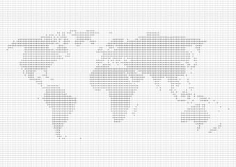 世界地図 ドット イラスト グレー