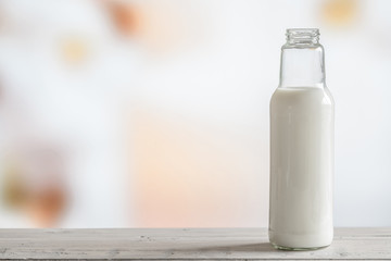 Bottle of milk on a table