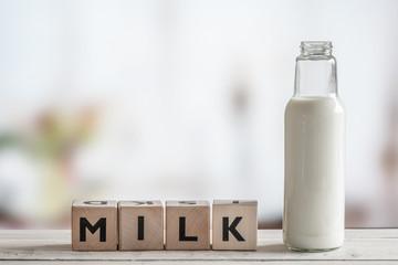 Milk bottle and the word milk