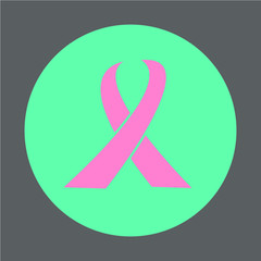 Pink Cancer Ribbon Button Icon Line Design