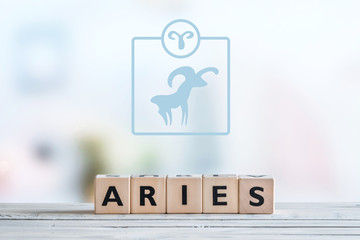 Aries star sign on a table
