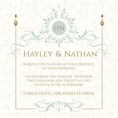 Wedding invitation. Decorative floral frame and monogram.