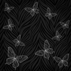Beautiful seamless background. butterflies on animal zebra abstract print.