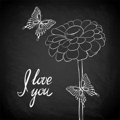 "Beautiful Daisy with flying butterfly outline drawn on the blackboard with the text ""I love you"""