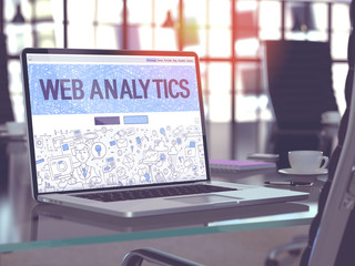 Web Analytics - Closeup Landing Page in Doodle Design Style on Laptop Screen. On Background of Comfortable Working Place in Modern Office. Toned, Blurred Image. 3D Render.
